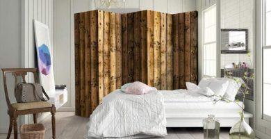 Biombos de madera baratos en dormitorio