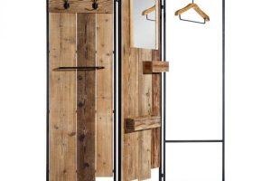 Biombo con colgador o perchero de madera de abeto y metal